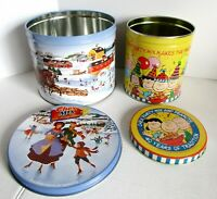 Chex Party Mix Tin Charlie Brown 1966 Vintage Winter Town People Ice Skating