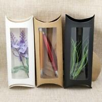 10pc 16*7*2.4cm brown white black cardboard pillow window box with clear pvc for