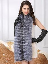 Women's Fur Scarves Real Silver Fox Fur Shawl Scarf Ladies Long shawl