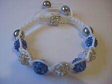 Aurora Shamballa Style Bracelet, fait main en poudre bleu et blanc, avec hématite