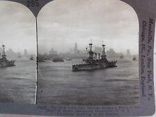 WW1 U.S.S. LOUISIANA ARRIVING IN NEW YORK CITY HARBOR STEREOVIEW KEYSTONE WWI PC