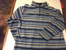 Ladies Blue Striped GAP Fleece collared Jumper Size L  PTP 20'' Length 24''