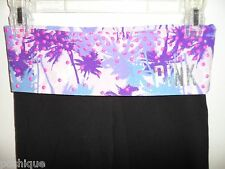 Victoria's Secret XS Yoga Pants Black Legging Silver Foil Studded Crop Palm Tree