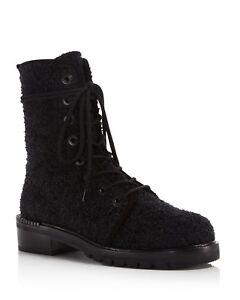 $598 size 7 Stuart Weitzman Metermaid Boucle Combat Booties Womens Shoes