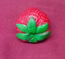 Strawberry Half W/Leaf, Wax, Fake Fruit Embed, Topper