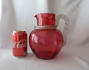 Antique Ornate Victorian Cranberry Glass Jug DAMAGED h19cm