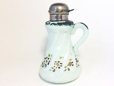 Victorian EAPG Milk Glass Syrup Pitcher Pale Green Hand Painted Applied Handle