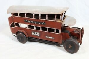 Vintage Style Tinplate Metal Red Double Decker Bus Model Ornament Old Fashioned