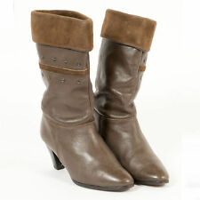 VTG BROWN STUD DETAIL LEATHER SUEDE TOPPED CALF LENGTH ANKLE BOOTS UK 4 EU 37