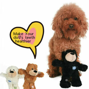 KONG Wild Knots Bear Dog Toy Plush Squeaky Rope Tug Teddy Comfort 8.5 inch UK