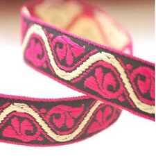 """1.1//8/"""" 28mm Pink Check Pattern Jacquard Ribbon x 1yd"""