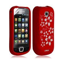 Housse étui coque silicone pour Samsung Galaxy Teos i5800 motif fleurs couleur r