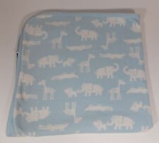 Carters Safari Baby Blanket 28in Blue Security Lovey Elephant Giraffe Hippo
