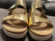 Eileen Fisher Comfort Sandal Metallic Gold Sz 7.5 M EUC Slip On Adjustable