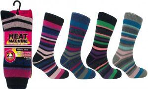 4 Ladies Thick Stripe Heat Machine® 2.3 Tog Rating Winter Thermal Socks UK 6-11