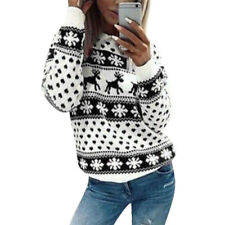 Womens Christmas Xmas Long Sleeve Hoodies Sweatshirt Jumper Hooded Pullover Tops
