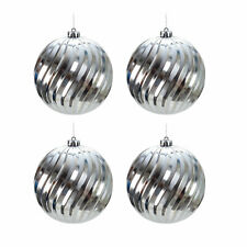 4er Christbaumkugeln-Set Große Weihnachtsbaumkugeln Schmuckkugeln Ø 15cm Silber