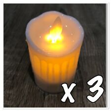 Set 3 LED Plastic Candles Battery Operated Pillar