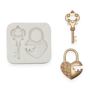 Lock Key Heart Love Mould Sugarcraft Cupcake Baking Decorating Chocolate Mold 3D