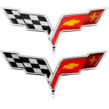 2pcs Car Logo Emblem Badge Decal Sticker for Chevrolet Corvette Crossed Flags