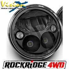"Vision X 7"" Round VORTEX LED HEADLIGHT *BLACK CHROME* Single Light Motorcycle"
