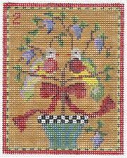 Needlepoint Handpainted Kelly Clark Christmas Two Turtle Doves 3x4