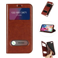 Slim Leather Case Flip Window View Stand Pouch Cover for iPhone X 8 7 6S Plus