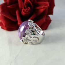 Sterling Silver QVC HUGE 52g Purple Cabocon Size 9 Ring   CAT RESCUE