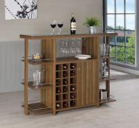 Coaster 3-Tier Bar Unit, 18 Bottle Wine Rack W / Stemware Rack Walnut Wood Glass