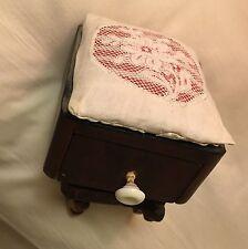 Antique Vintage Wood Swedish Floral Lace Drawer Sewing Needlework Pin Cushion