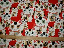 Cotton Fabric NEW Alexander Henry FUKU KITTY Asian inspired on red BTY