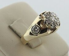 14K Yellow Gold 1.0ct Diamond Flower Cluster Men's Ring - Size 8.5