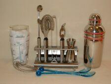 11 Pc. Bar Lot Recipe Glass Hoffritz Tool Set Oneida Stainless Steel Drink Mixer