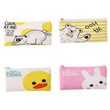 1xKids Cute Duck Bear PU Pencil Case Stationery School Bag Office Zipper Case HN