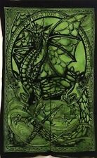 Dragon Stand Green Wall Hanging Small Tapestry Poster Table Cloth Cotton Solid