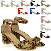 Womens Low Mid Heel Block Peeptoe Ladies Ankle Strap Party Strappy Sandals Shoes