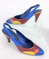 Carlo Fiori Italy Vtg Snakeskin Leather Texture Colorful Slingback Shoes 9AA Box