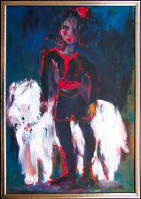 Jutta Loh-Pedersen *1938: Junge Frau Barsoi-Hund Gemälde 1995 Windhund Selten