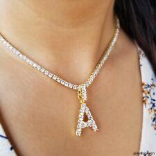 Initial Solitaire Bubble Letter Pendant Gold Silver+ Tennis Chain Necklace Women