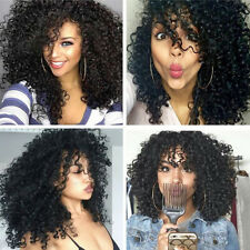 Fashion Ladies Curly Afro Black Medium Synthetic Hair Full Wig For Black Women