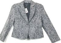 August Silk NWT Jacket Womens Size 10P Black Blazer Style Lace Pattern Career