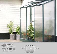 Gewächshaus IDA 1300 grün 4mm HKP  + Stahlfundament  Anlehngewächshaus  Pergart