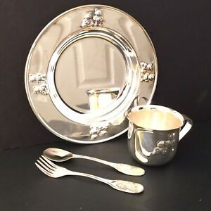 Silver-plated Child's Tableware Set with Plate Cup Spoon Fork Made in Hong Kong