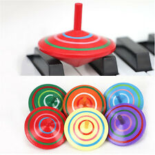 Wood Spinning Top Kids Colorful Wooden Gyro Toy Intelligence Classic Xmas Gift