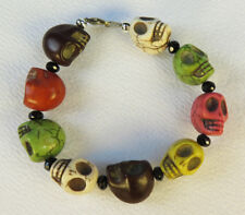 Mexican Day of the Dead  handmade jewelry bracelet  mixed large skulls