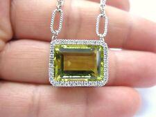 Fine 18.40ct Verde Limón Cuarzo Colgante con Diamante 14kt