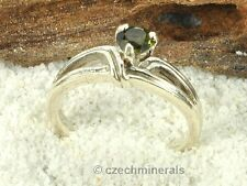 MOLDAVITE FACETED RING SILVER.925 5mm - US 8 - 21.5ct #RING546