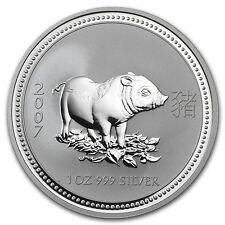2007 1 oz Silver Australian Perth Mint Lunar Year of the Pig Coin - SKU #18512