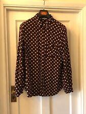 New Look Burgundy & White Heart Design Viscose Patch Pocket Shirt Blouse,UK12