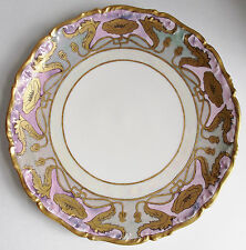 Antique LIMOGES Porcelain POPPY CHARGER PLATE Painted GOLD PURPLE Platter T & V